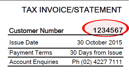 Example of customer number on an invoice