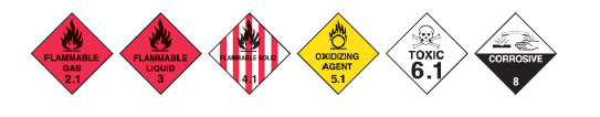Symbols for Flammable Gas 2.1, Flammable Liquid 3, Flammable Solid 4.1, Oxidizing Agent 5.1, Toxic 6.1 and Corrosive 8