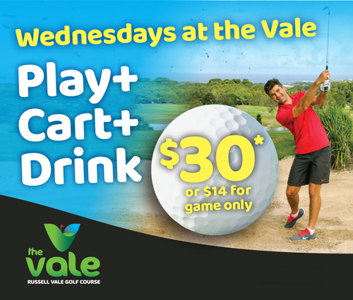 Wednesdays at the Vale - play + cart + drink for $30 or $14 for game only